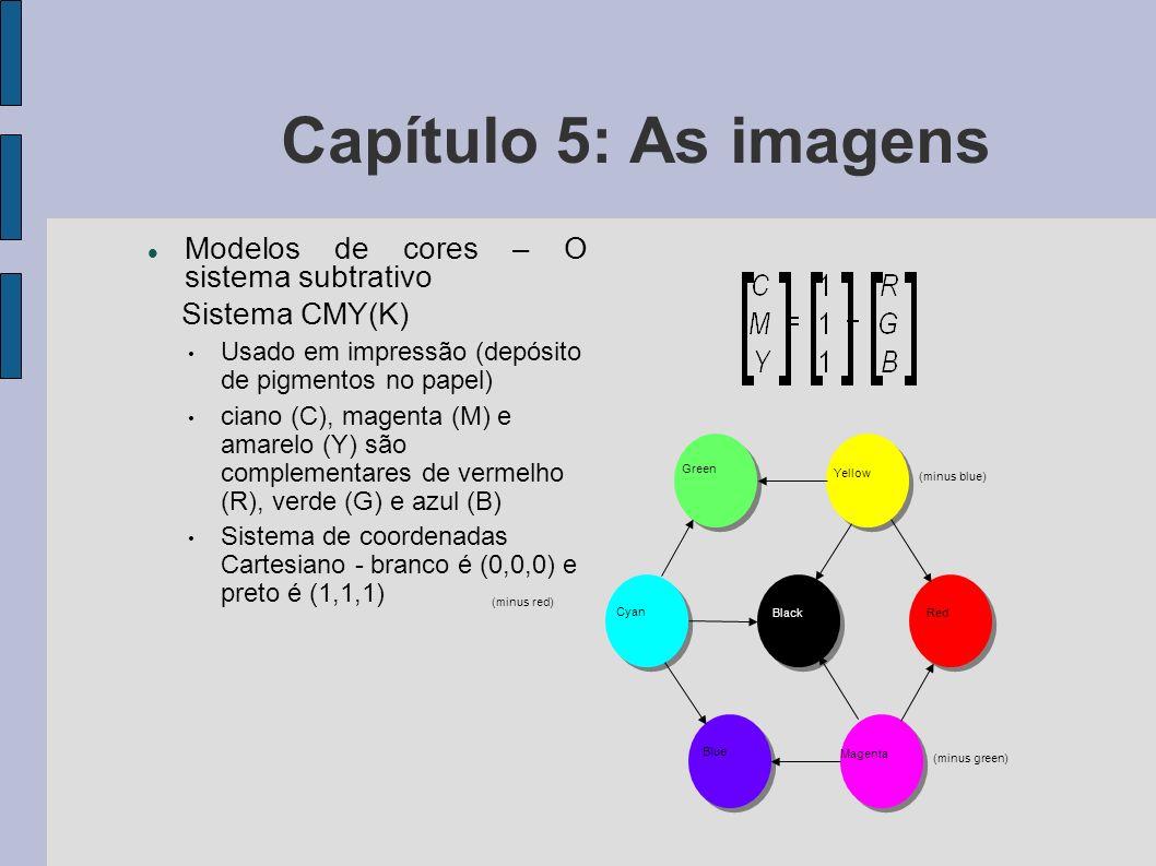 Capítulo 5: As imagens Modelos de cores – O sistema subtrativo / Sistema CMY(K) Cada pigmento reflete apenas a cor que não absorve Ex.: um pigmento vermelho será aquele que reflete apenas o vermelho e, portanto, absorve o verde e o azul O pigmento branco reflete todas as cores e o preto as absorve