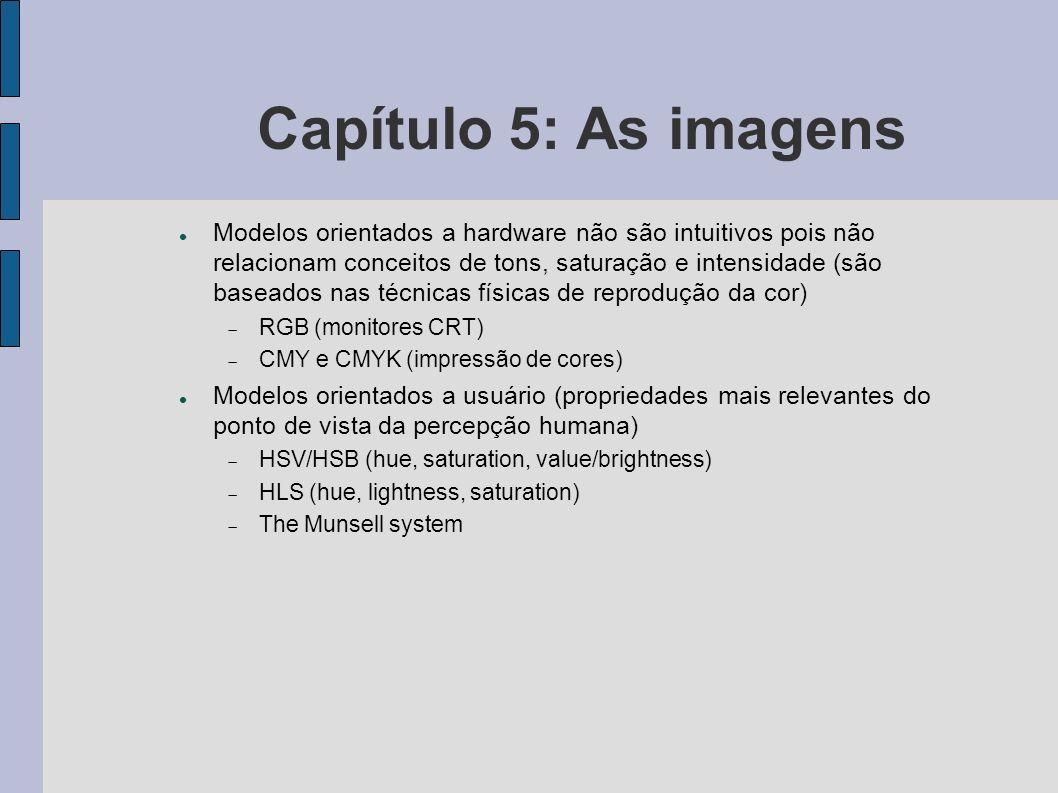 Capítulo 5: As imagens Modelos orientados a hardware não são intuitivos pois não relacionam conceitos de tons, saturação e intensidade (são baseados n