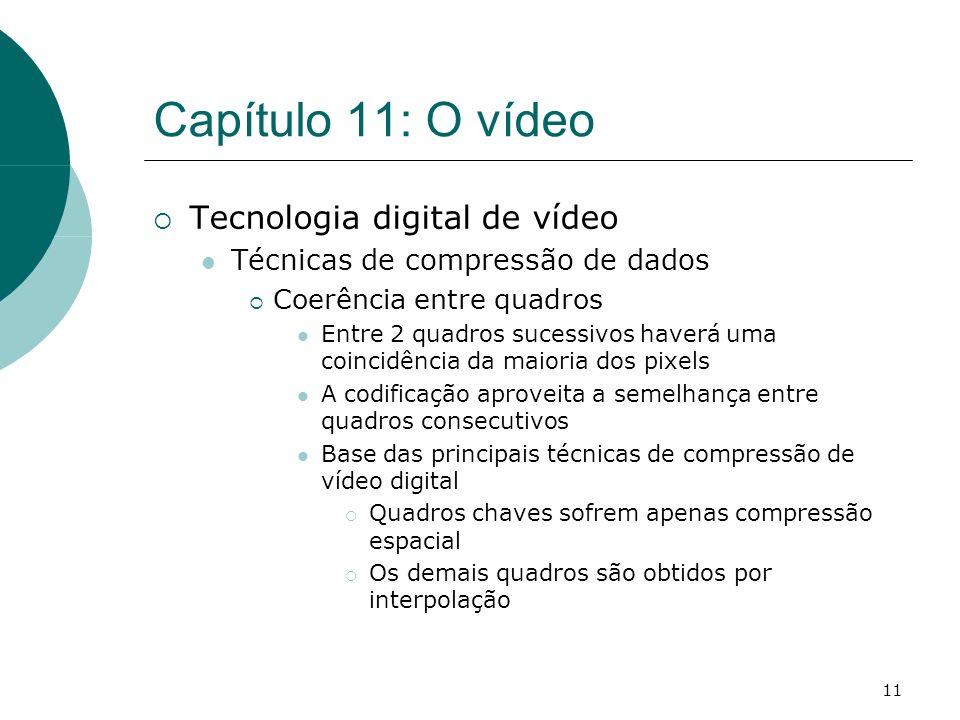 11 Capítulo 11: O vídeo Tecnologia digital de vídeo Técnicas de compressão de dados Coerência entre quadros Entre 2 quadros sucessivos haverá uma coin