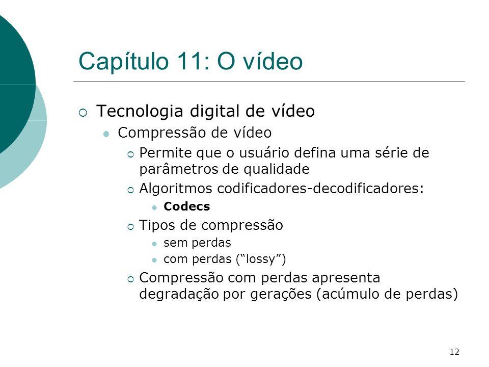 12 Capítulo 11: O vídeo Tecnologia digital de vídeo Compressão de vídeo Permite que o usuário defina uma série de parâmetros de qualidade Algoritmos c