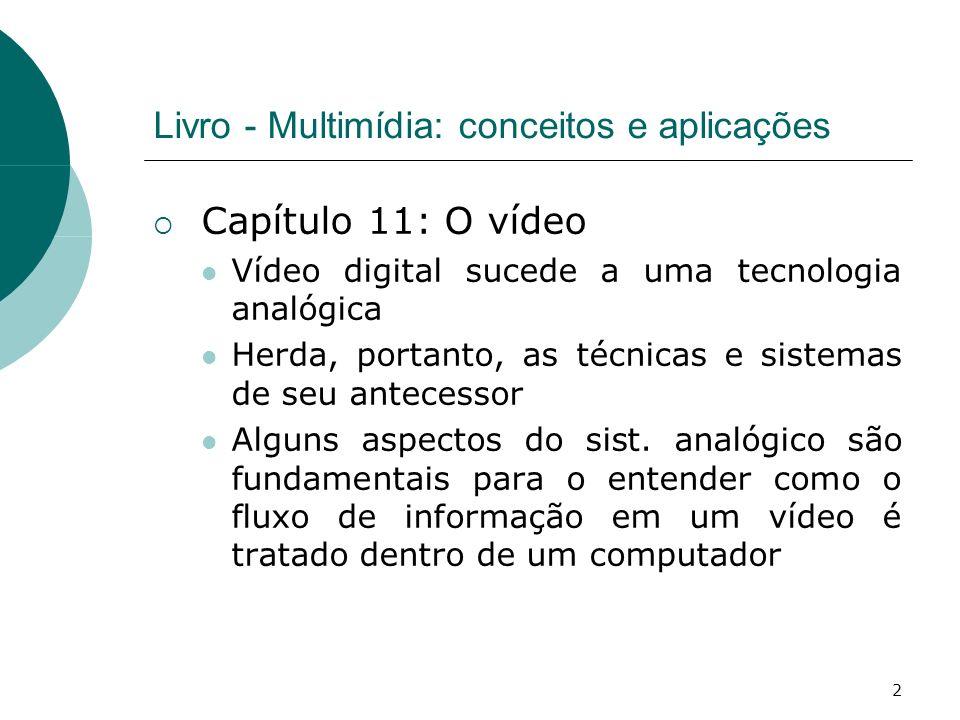 2 Livro - Multimídia: conceitos e aplicações Capítulo 11: O vídeo Vídeo digital sucede a uma tecnologia analógica Herda, portanto, as técnicas e sistemas de seu antecessor Alguns aspectos do sist.