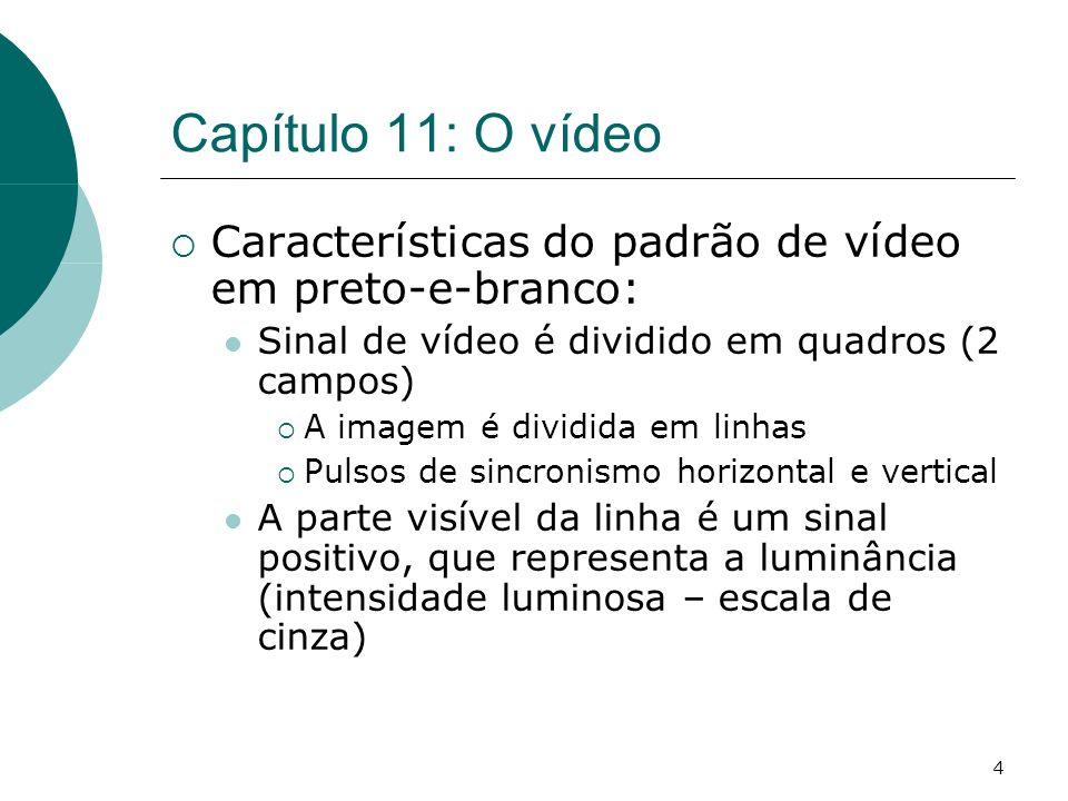 4 Capítulo 11: O vídeo Características do padrão de vídeo em preto-e-branco: Sinal de vídeo é dividido em quadros (2 campos) A imagem é dividida em linhas Pulsos de sincronismo horizontal e vertical A parte visível da linha é um sinal positivo, que representa a luminância (intensidade luminosa – escala de cinza)