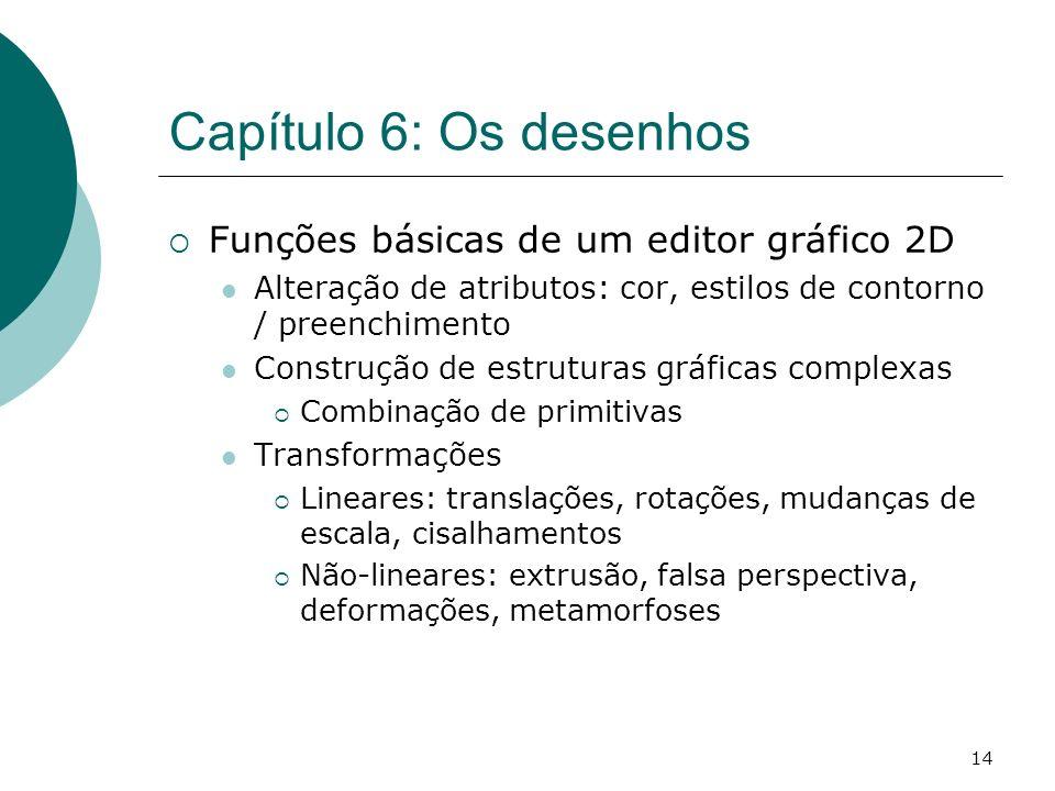14 Capítulo 6: Os desenhos Funções básicas de um editor gráfico 2D Alteração de atributos: cor, estilos de contorno / preenchimento Construção de estr