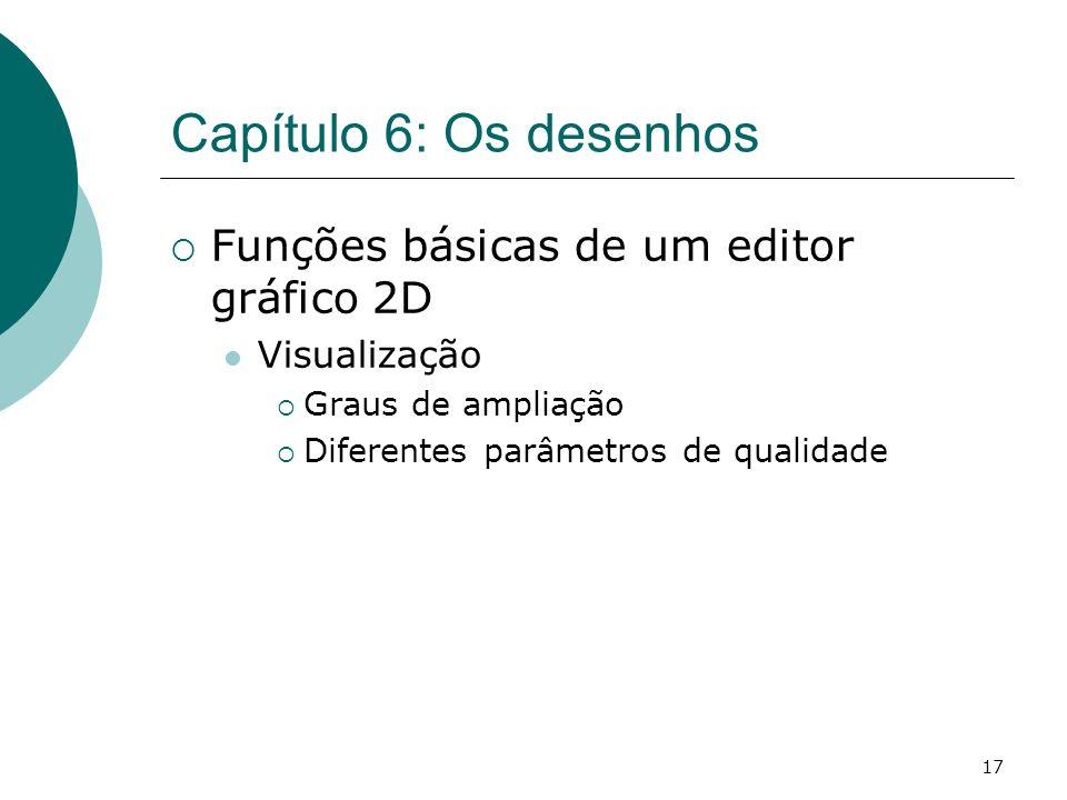 17 Capítulo 6: Os desenhos Funções básicas de um editor gráfico 2D Visualização Graus de ampliação Diferentes parâmetros de qualidade