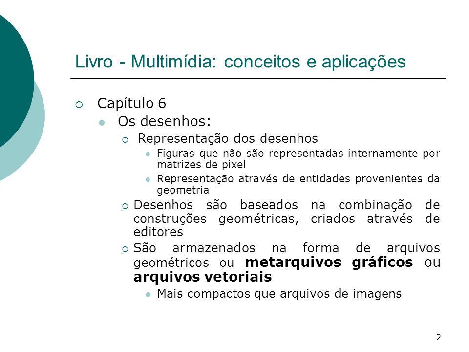3 Livro - Multimídia: conceitos e aplicações Capítulo 6 Os desenhos: Representação dos desenhos primitiva gráfica - unidade de dado geométrico; entidade gráfica - primitiva ou coleção de primitivas.