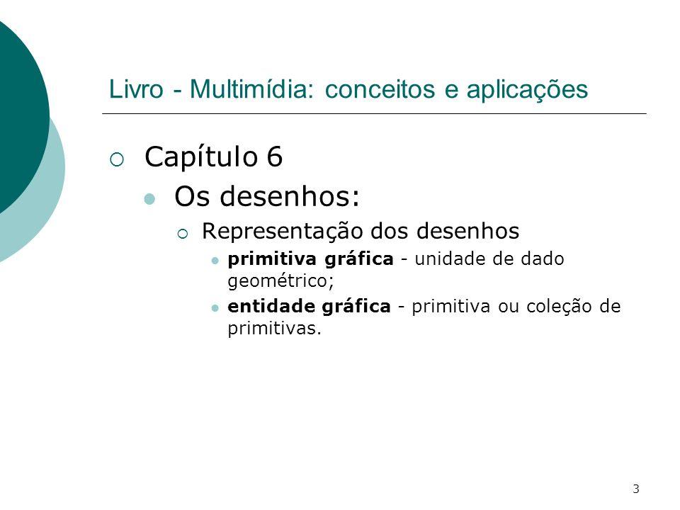 3 Livro - Multimídia: conceitos e aplicações Capítulo 6 Os desenhos: Representação dos desenhos primitiva gráfica - unidade de dado geométrico; entida