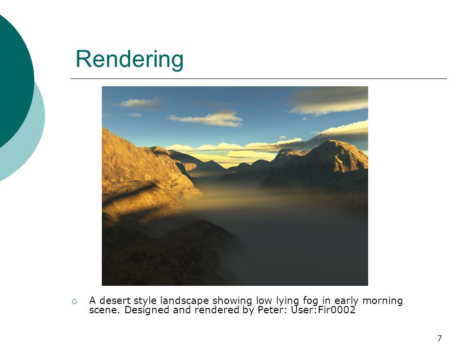 7 Rendering A desert style landscape showing low lying fog in early morning scene.