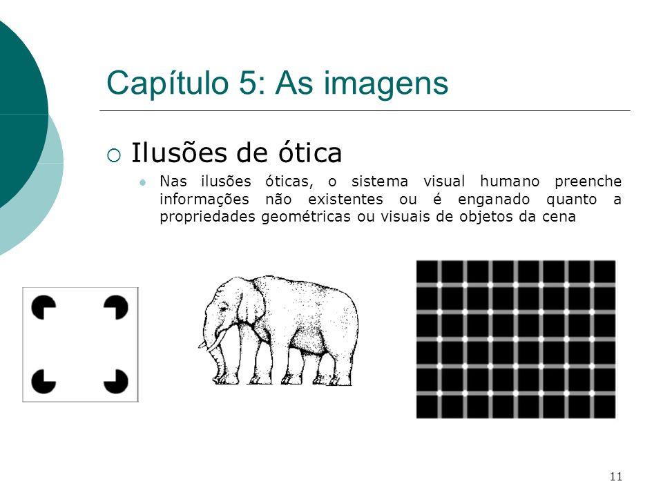 11 Capítulo 5: As imagens Ilusões de ótica Nas ilusões óticas, o sistema visual humano preenche informações não existentes ou é enganado quanto a propriedades geométricas ou visuais de objetos da cena
