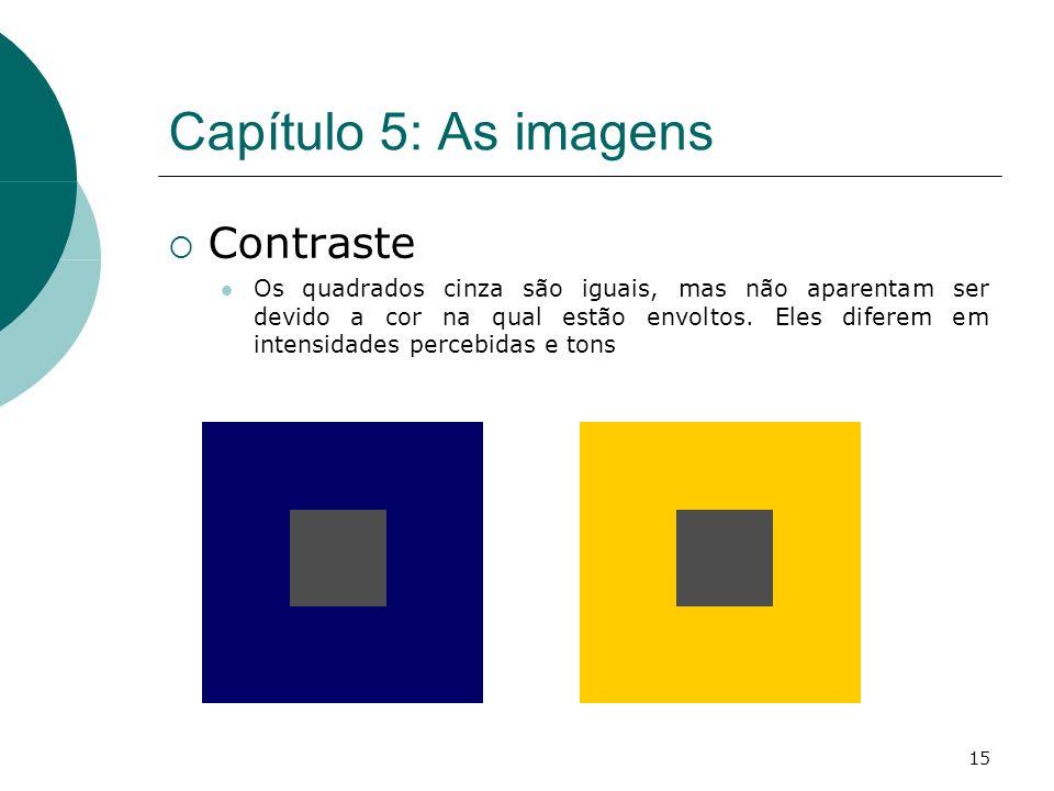 15 Capítulo 5: As imagens Contraste Os quadrados cinza são iguais, mas não aparentam ser devido a cor na qual estão envoltos.