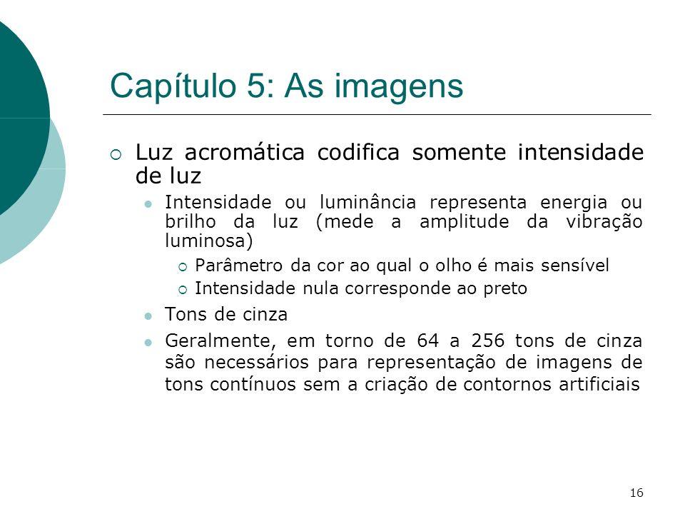 16 Capítulo 5: As imagens Luz acromática codifica somente intensidade de luz Intensidade ou luminância representa energia ou brilho da luz (mede a amplitude da vibração luminosa) Parâmetro da cor ao qual o olho é mais sensível Intensidade nula corresponde ao preto Tons de cinza Geralmente, em torno de 64 a 256 tons de cinza são necessários para representação de imagens de tons contínuos sem a criação de contornos artificiais