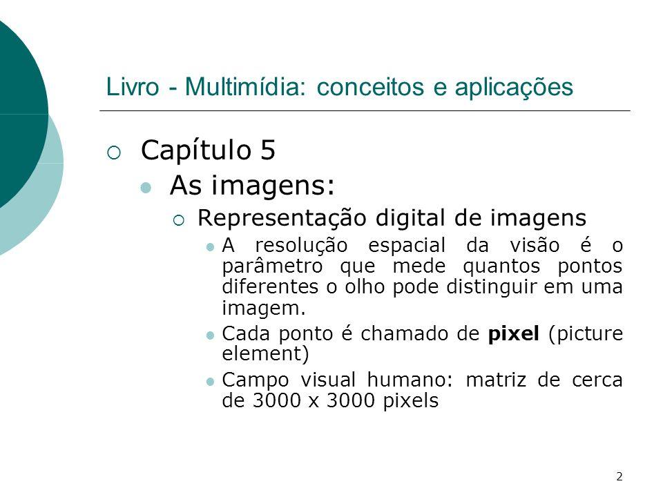 2 Livro - Multimídia: conceitos e aplicações Capítulo 5 As imagens: Representação digital de imagens A resolução espacial da visão é o parâmetro que mede quantos pontos diferentes o olho pode distinguir em uma imagem.