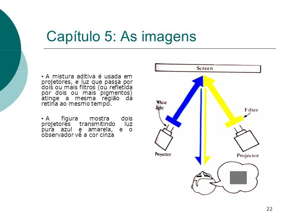 22 Capítulo 5: As imagens A mistura aditiva é usada em projetores, e luz que passa por dois ou mais filtros (ou refletida por dois ou mais pigmentos) atinge a mesma região da retina ao mesmo tempo.