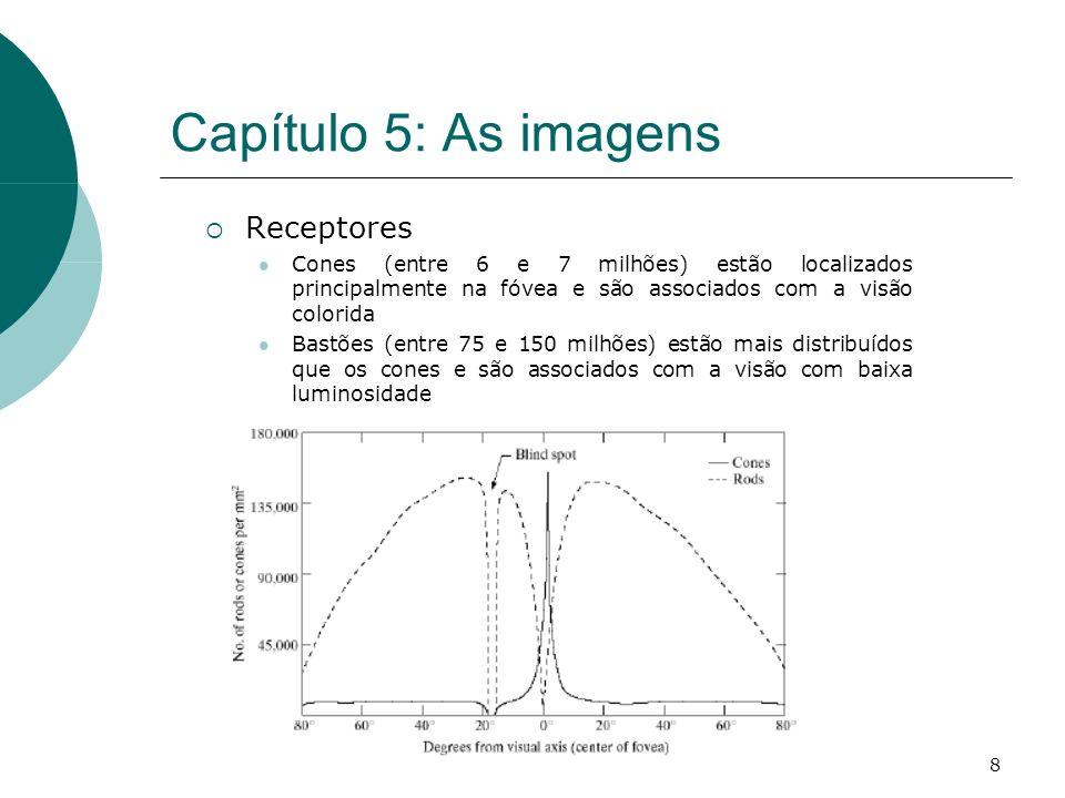 8 Capítulo 5: As imagens Receptores Cones (entre 6 e 7 milhões) estão localizados principalmente na fóvea e são associados com a visão colorida Bastões (entre 75 e 150 milhões) estão mais distribuídos que os cones e são associados com a visão com baixa luminosidade