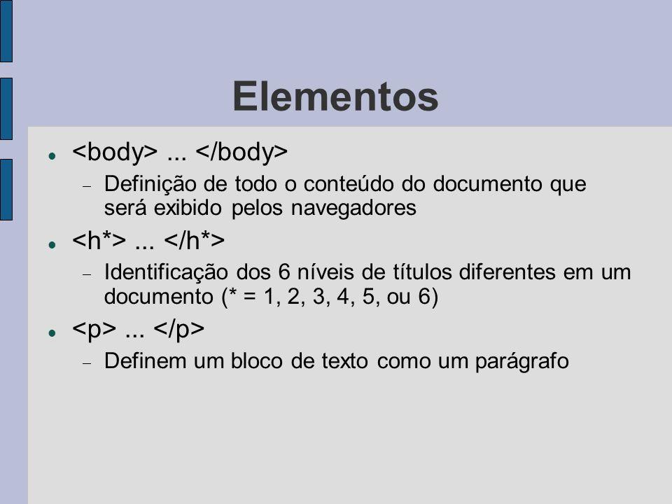 Elementos...Definição de todo o conteúdo do documento que será exibido pelos navegadores...