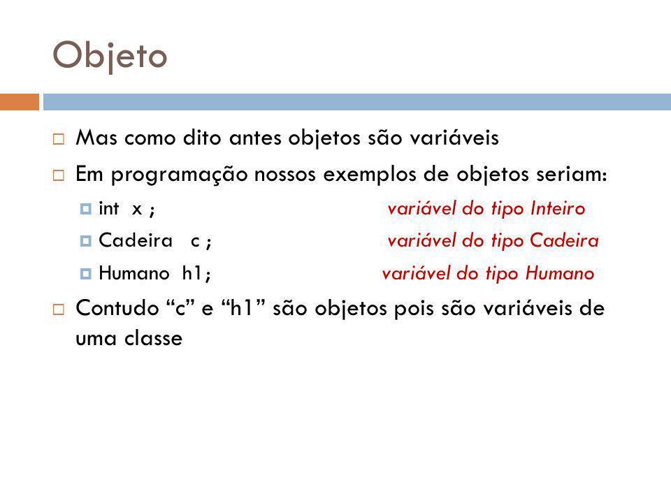 Objeto Mas como dito antes objetos são variáveis Em programação nossos exemplos de objetos seriam: int x ; variável do tipo Inteiro Cadeira c ;variável do tipo Cadeira Humano h1; variável do tipo Humano Contudo c e h1 são objetos pois são variáveis de uma classe