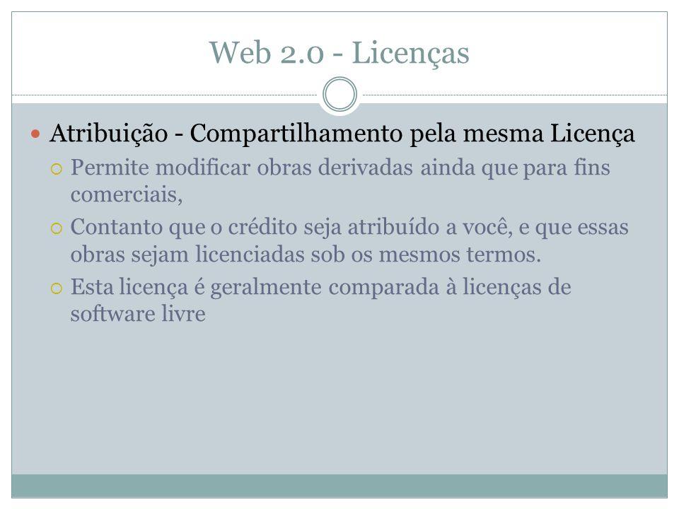Web 2.0 - Licenças Atribuição - Compartilhamento pela mesma Licença Permite modificar obras derivadas ainda que para fins comerciais, Contanto que o crédito seja atribuído a você, e que essas obras sejam licenciadas sob os mesmos termos.
