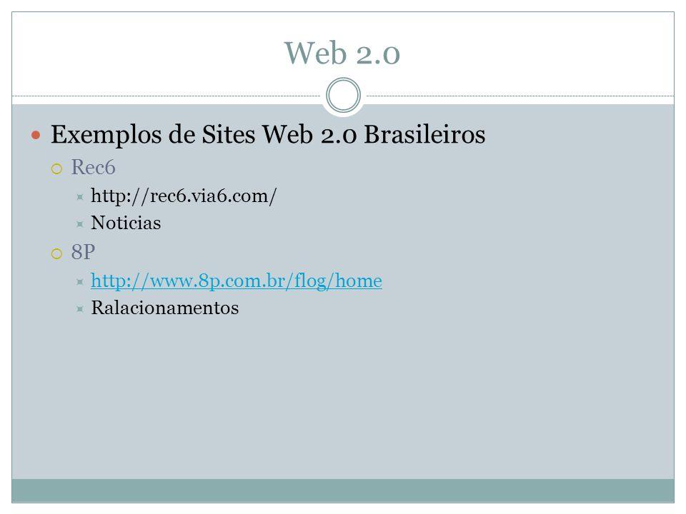Web 2.0 Exemplos de Sites Web 2.0 Brasileiros Rec6 http://rec6.via6.com/ Noticias 8P http://www.8p.com.br/flog/home Ralacionamentos