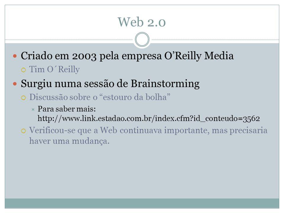 Web 2.0 Criado em 2003 pela empresa OReilly Media Tim O´Reilly Surgiu numa sessão de Brainstorming Discussão sobre o estouro da bolha Para saber mais: http://www.link.estadao.com.br/index.cfm id_conteudo=3562 Verificou-se que a Web continuava importante, mas precisaria haver uma mudança.