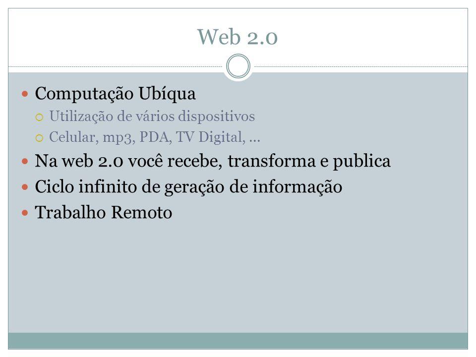 Web 2.0 Computação Ubíqua Utilização de vários dispositivos Celular, mp3, PDA, TV Digital,...