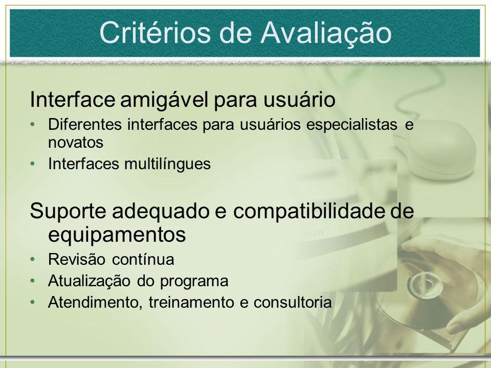 Critérios de Avaliação Interface amigável para usuário Diferentes interfaces para usuários especialistas e novatos Interfaces multilíngues Suporte ade