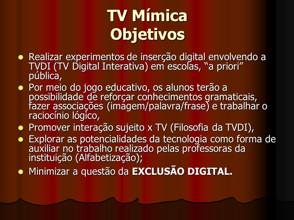 TV Mímica Objetivos Realizar experimentos de inserção digital envolvendo a TVDI (TV Digital Interativa) em escolas, a priori pública, Realizar experim