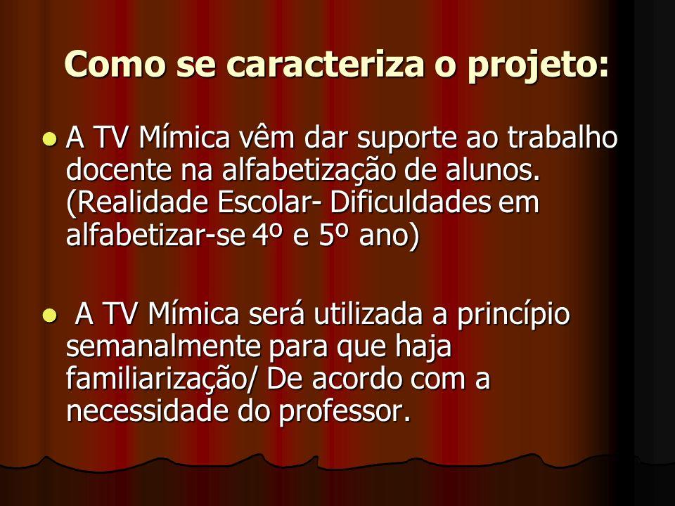 Como se caracteriza o projeto: A TV Mímica vêm dar suporte ao trabalho docente na alfabetização de alunos. (Realidade Escolar- Dificuldades em alfabet