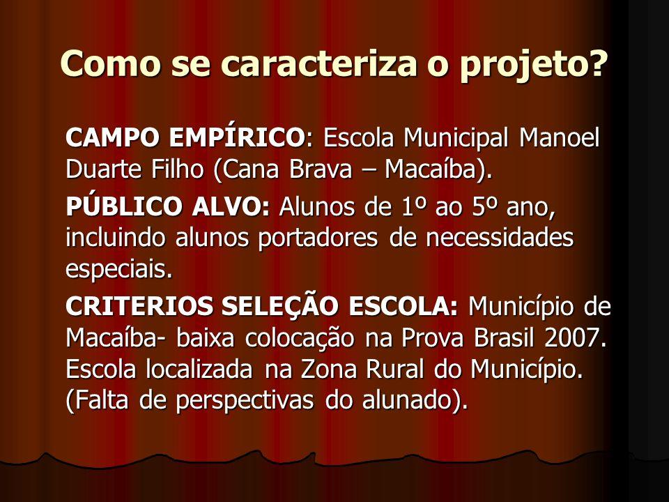 Como se caracteriza o projeto? CAMPO EMPÍRICO: Escola Municipal Manoel Duarte Filho (Cana Brava – Macaíba). PÚBLICO ALVO: Alunos de 1º ao 5º ano, incl