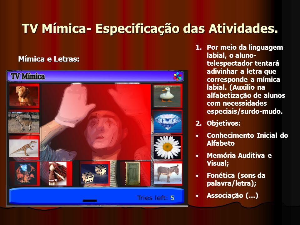 TV Mímica- Especificação das Atividades. Mímica e Letras: 1.Por meio da linguagem labial, o aluno- telespectador tentará adivinhar a letra que corresp