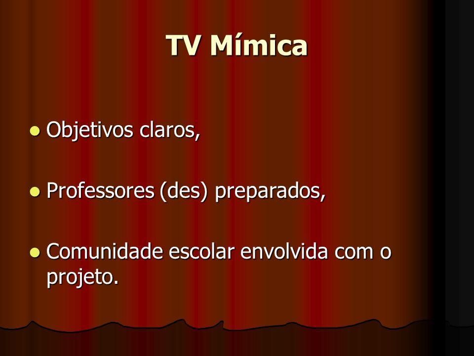 TV Mímica Objetivos claros, Objetivos claros, Professores (des) preparados, Professores (des) preparados, Comunidade escolar envolvida com o projeto.