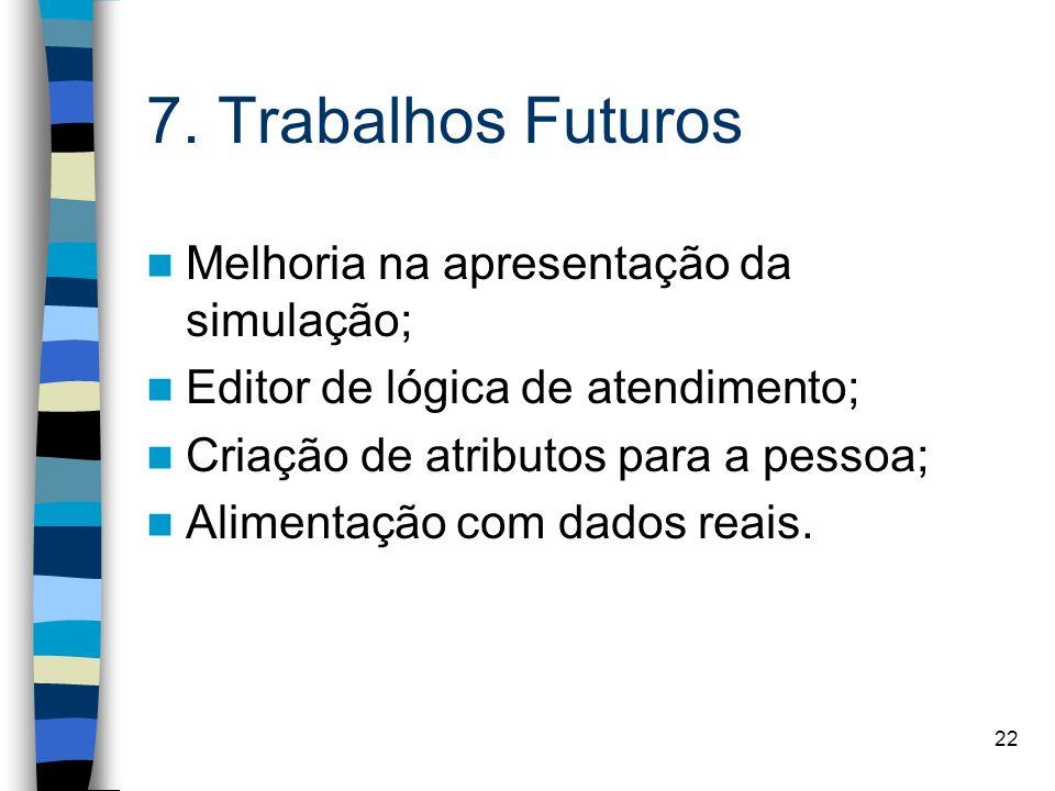 22 7. Trabalhos Futuros Melhoria na apresentação da simulação; Editor de lógica de atendimento; Criação de atributos para a pessoa; Alimentação com da
