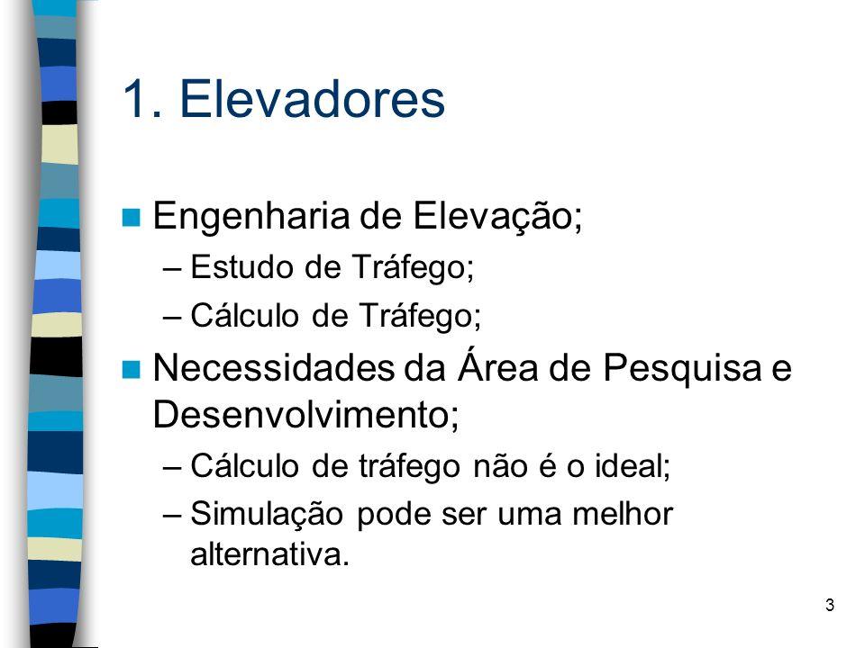 3 1. Elevadores Engenharia de Elevação; –Estudo de Tráfego; –Cálculo de Tráfego; Necessidades da Área de Pesquisa e Desenvolvimento; –Cálculo de tráfe