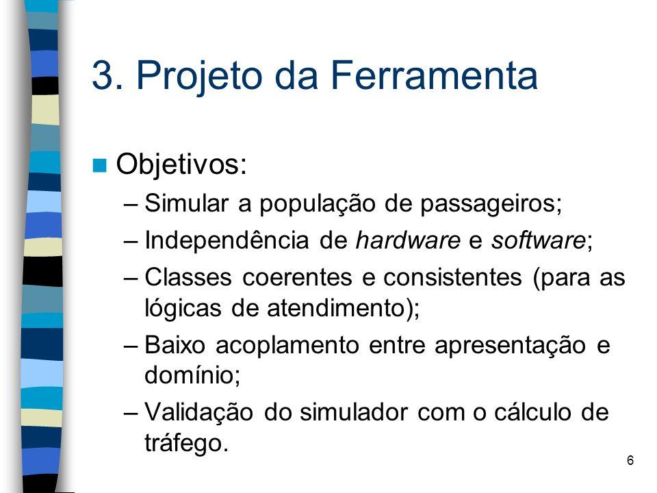6 3. Projeto da Ferramenta Objetivos: –Simular a população de passageiros; –Independência de hardware e software; –Classes coerentes e consistentes (p