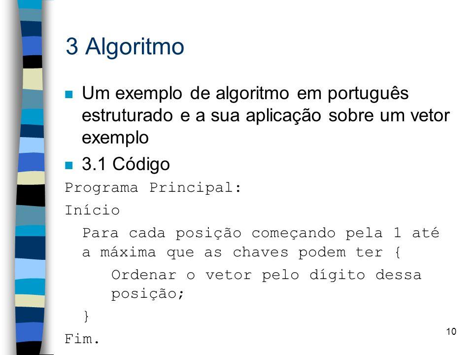 10 3 Algoritmo n Um exemplo de algoritmo em português estruturado e a sua aplicação sobre um vetor exemplo n 3.1 Código Programa Principal: Início Para cada posição começando pela 1 até a máxima que as chaves podem ter { Ordenar o vetor pelo dígito dessa posição; } Fim.