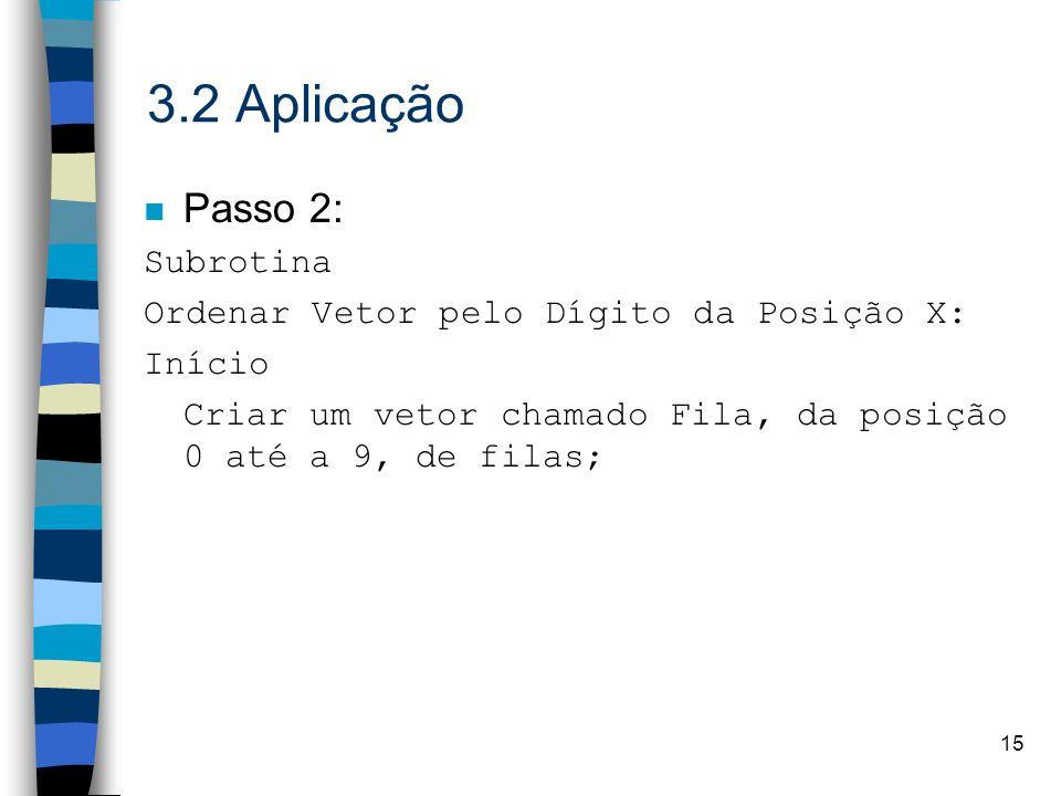 15 3.2 Aplicação n Passo 2: Subrotina Ordenar Vetor pelo Dígito da Posição X: Início Criar um vetor chamado Fila, da posição 0 até a 9, de filas;