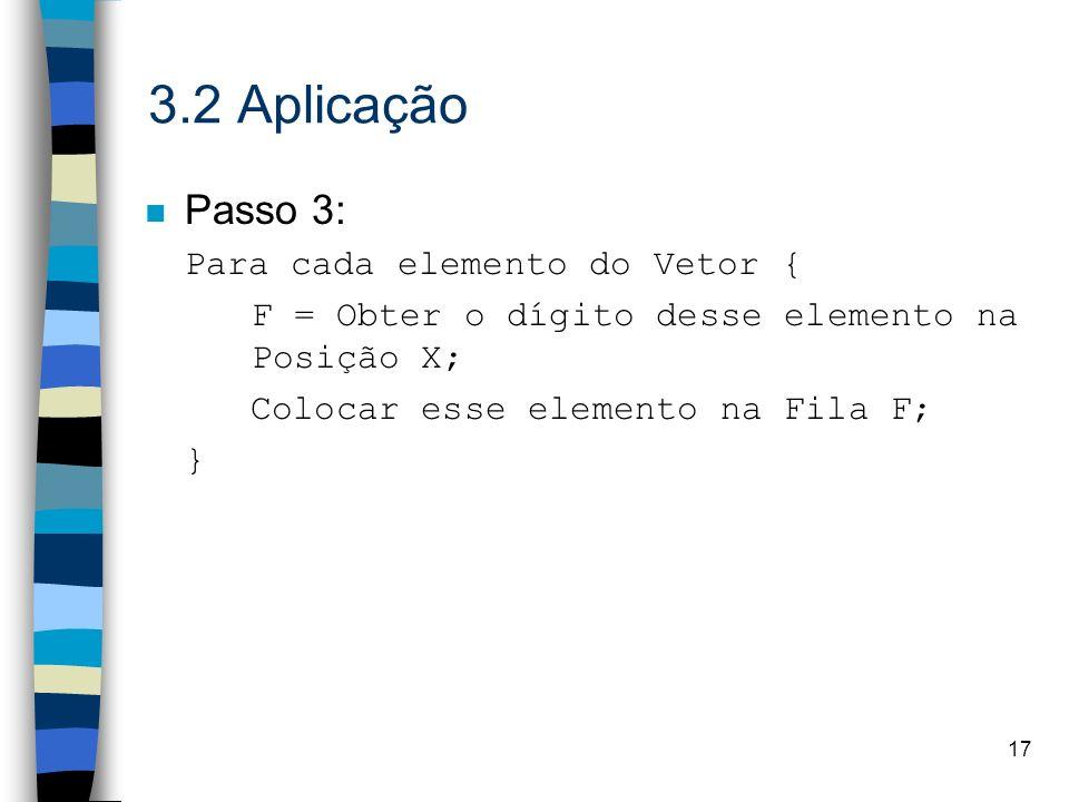 17 3.2 Aplicação n Passo 3: Para cada elemento do Vetor { F = Obter o dígito desse elemento na Posição X; Colocar esse elemento na Fila F; }