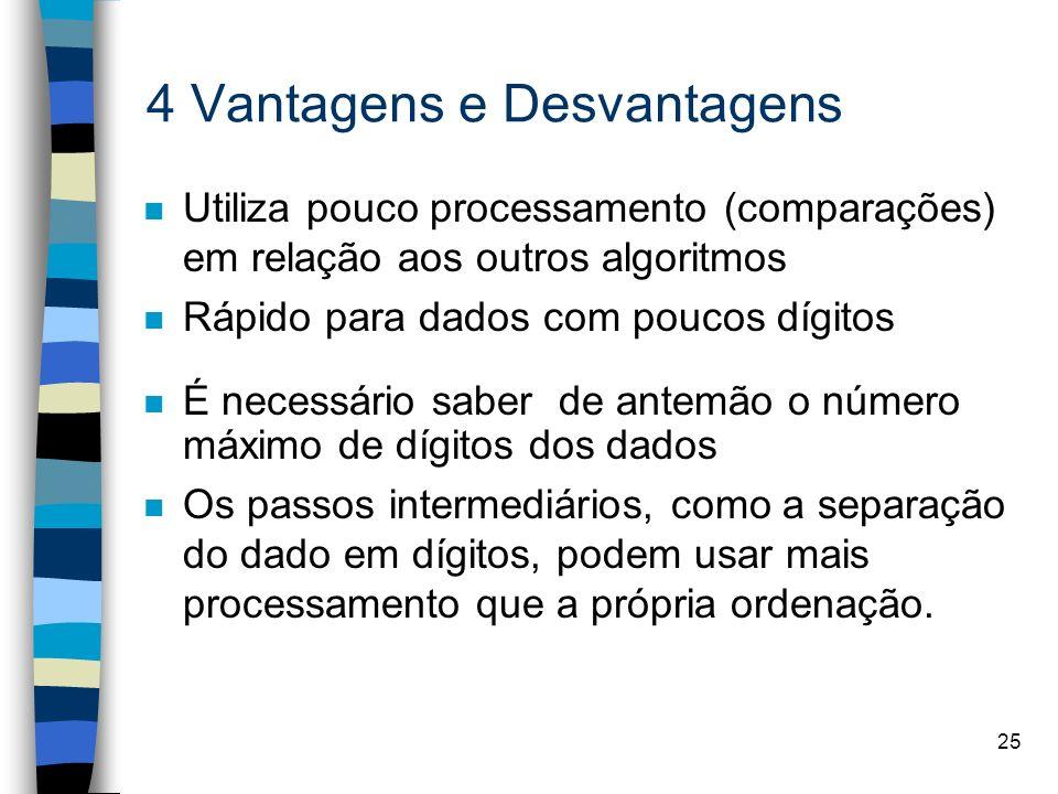 25 4 Vantagens e Desvantagens n Utiliza pouco processamento (comparações) em relação aos outros algoritmos n Rápido para dados com poucos dígitos n É necessário saber de antemão o número máximo de dígitos dos dados n Os passos intermediários, como a separação do dado em dígitos, podem usar mais processamento que a própria ordenação.