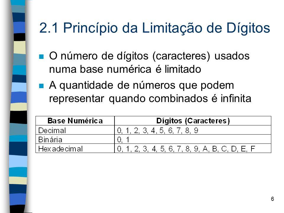 6 2.1 Princípio da Limitação de Dígitos n O número de dígitos (caracteres) usados numa base numérica é limitado n A quantidade de números que podem representar quando combinados é infinita
