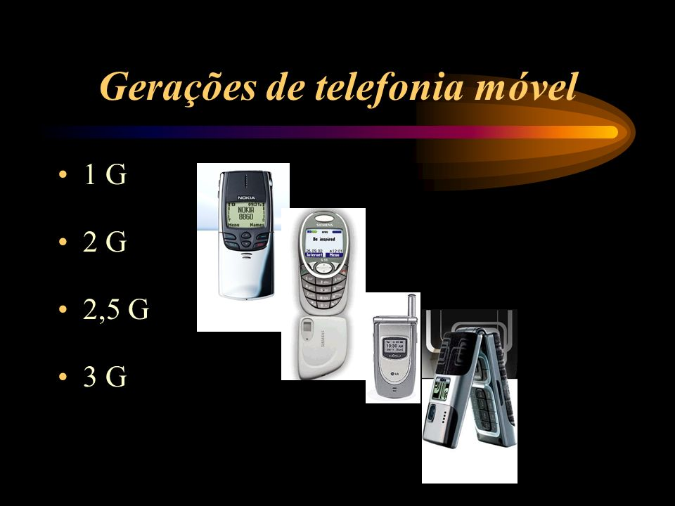 Gerações de telefonia móvel 1 G 2 G 2,5 G 3 G