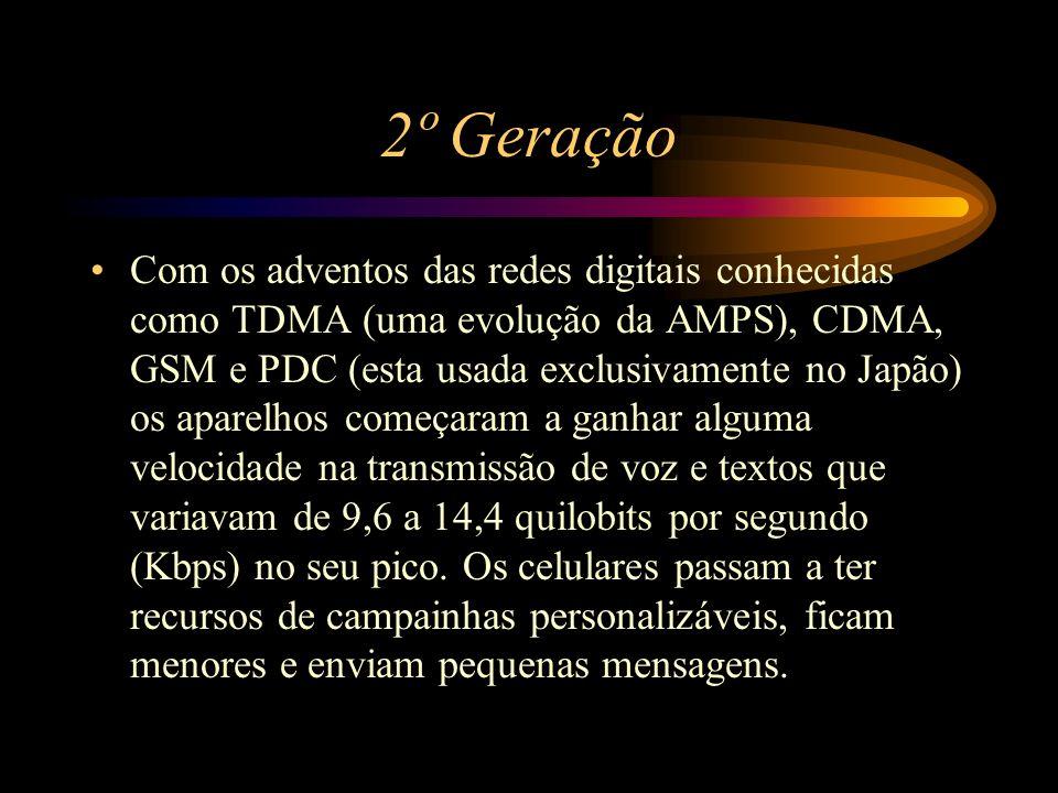 2º Geração Com os adventos das redes digitais conhecidas como TDMA (uma evolução da AMPS), CDMA, GSM e PDC (esta usada exclusivamente no Japão) os apa
