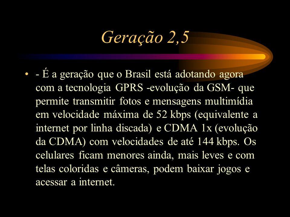 Geração 2,5 - É a geração que o Brasil está adotando agora com a tecnologia GPRS -evolução da GSM- que permite transmitir fotos e mensagens multimídia