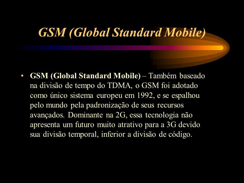 GSM (Global Standard Mobile) GSM (Global Standard Mobile) – Também baseado na divisão de tempo do TDMA, o GSM foi adotado como único sistema europeu e