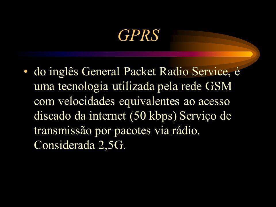 GPRS do inglês General Packet Radio Service, é uma tecnologia utilizada pela rede GSM com velocidades equivalentes ao acesso discado da internet (50 k