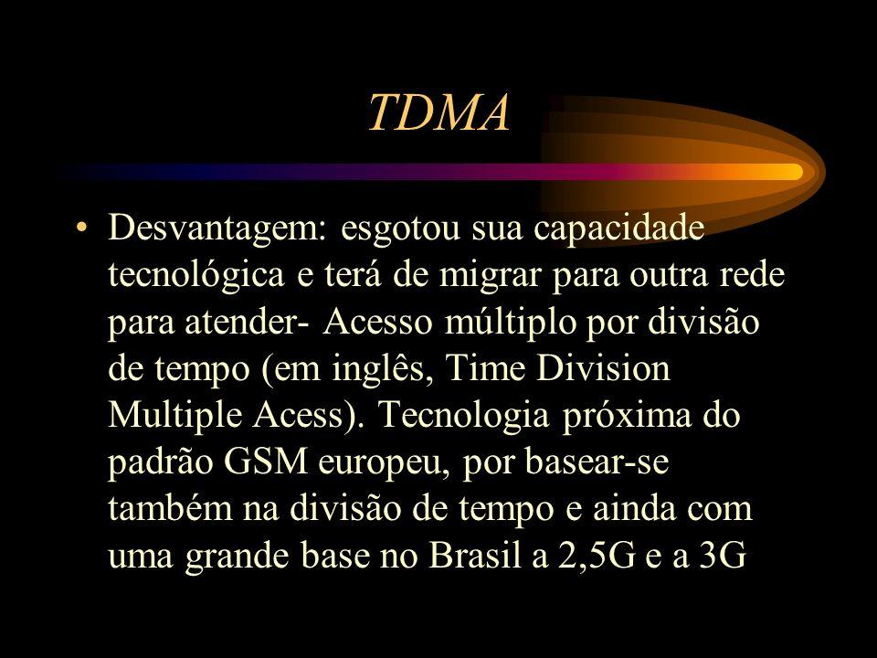 TDMA Desvantagem: esgotou sua capacidade tecnológica e terá de migrar para outra rede para atender- Acesso múltiplo por divisão de tempo (em inglês, T