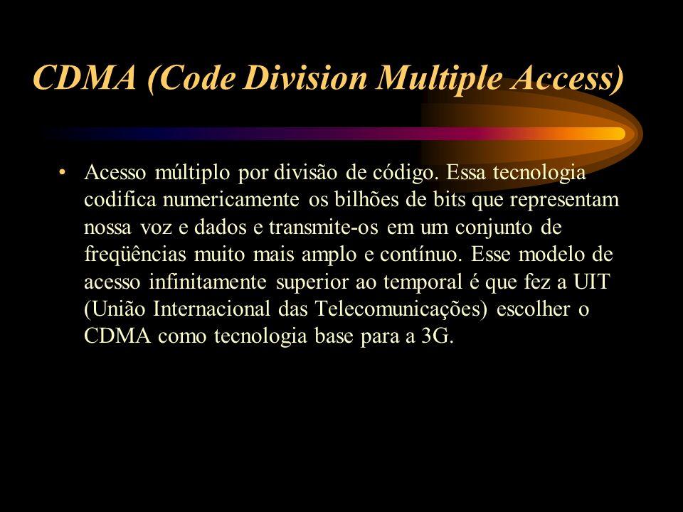 CDMA (Code Division Multiple Access) Acesso múltiplo por divisão de código. Essa tecnologia codifica numericamente os bilhões de bits que representam