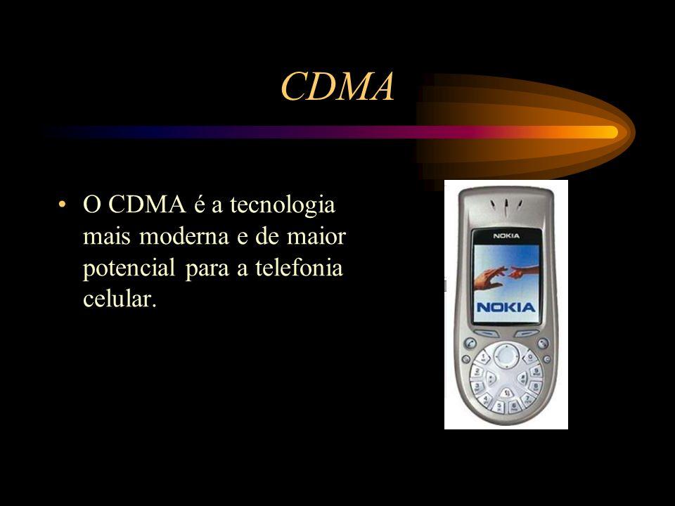 CDMA O CDMA é a tecnologia mais moderna e de maior potencial para a telefonia celular.
