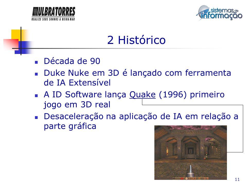 11 2 Histórico Década de 90 Duke Nuke em 3D é lançado com ferramenta de IA Extensível A ID Software lança Quake (1996) primeiro jogo em 3D real Desace