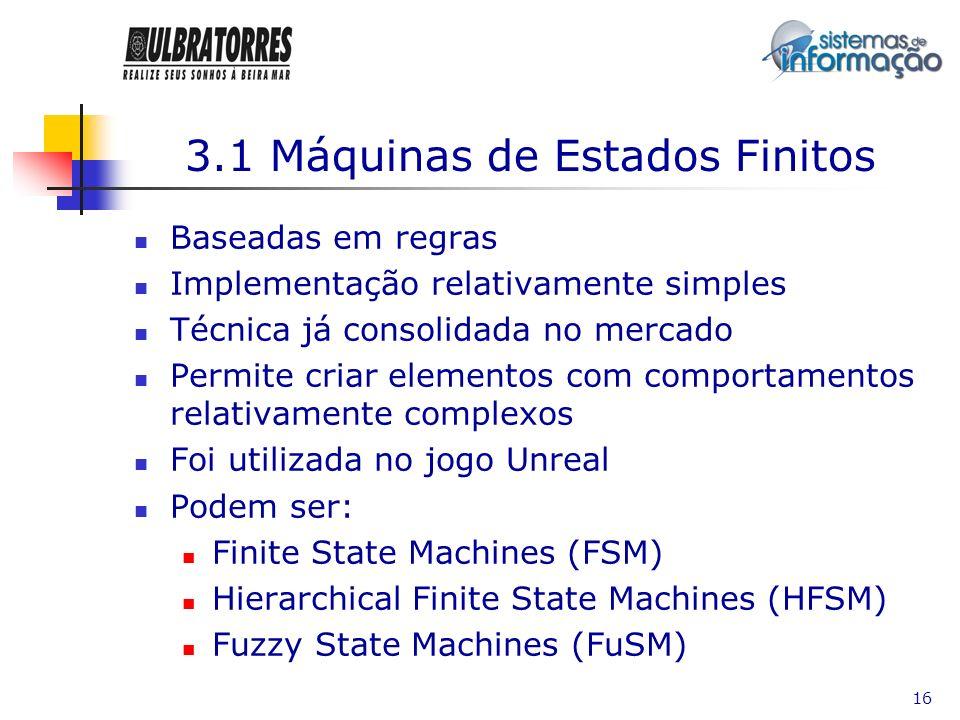 16 3.1 Máquinas de Estados Finitos Baseadas em regras Implementação relativamente simples Técnica já consolidada no mercado Permite criar elementos co