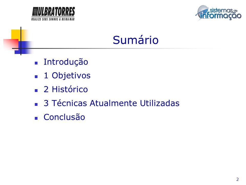 2 Sumário Introdução 1 Objetivos 2 Histórico 3 Técnicas Atualmente Utilizadas Conclusão