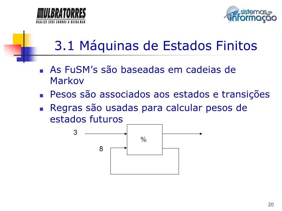 20 3.1 Máquinas de Estados Finitos As FuSMs são baseadas em cadeias de Markov Pesos são associados aos estados e transições Regras são usadas para cal