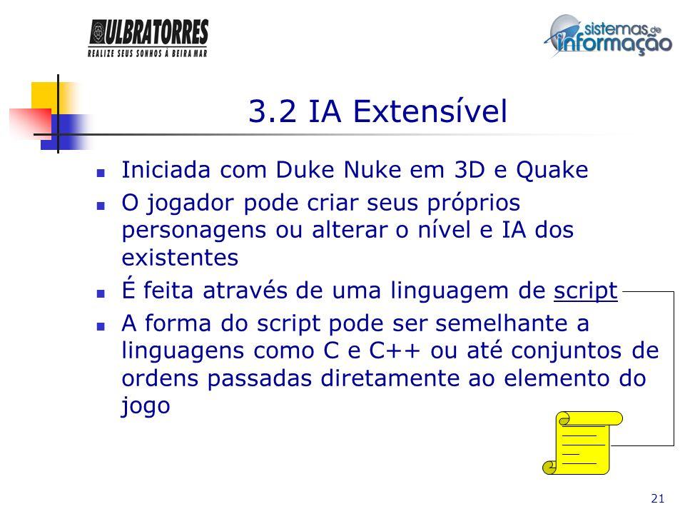 21 3.2 IA Extensível Iniciada com Duke Nuke em 3D e Quake O jogador pode criar seus próprios personagens ou alterar o nível e IA dos existentes É feit